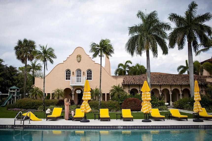 A portrait of Mr Trump hangs in the bar. The club was built by cereal heiress Marjorie Merriweather Post, who sold it to Mr Trump in 1985. Mar-a-Lago, Mr Trump's members-only Palm Beach, Florida, club, has been transformed into the part-time capital