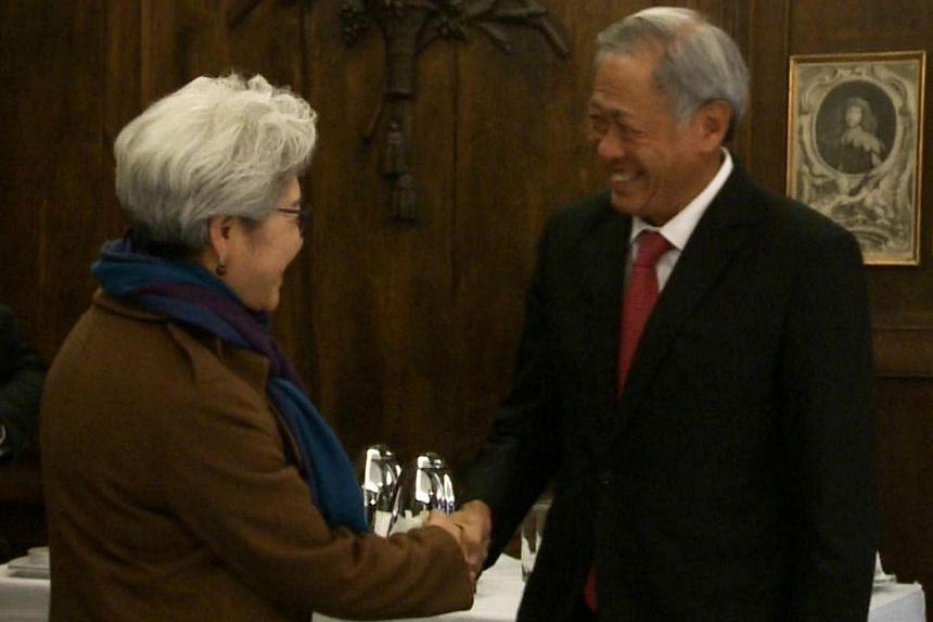 Minister for Defence Dr Ng Eng Hen (right) meeting with Chairperson of the Foreign Affairs Committee, National People's Congress of China, Fu Ying (left) on the sidelines of the 53rd Munich Security Conference.
