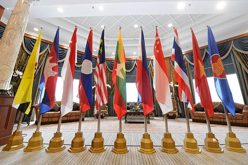 Flags of Asean members displayed in a conference room at the Prime Minister's Office (PMO) Building Complex in Bandar Seri Begawan, Brunei.