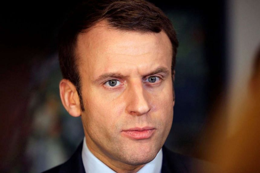 Emmanuel Macron, head of the political movement En Marche!, or Onwards!, and candidate for the 2017 presidential elections, attends a news conference on Feb 13, 2017.