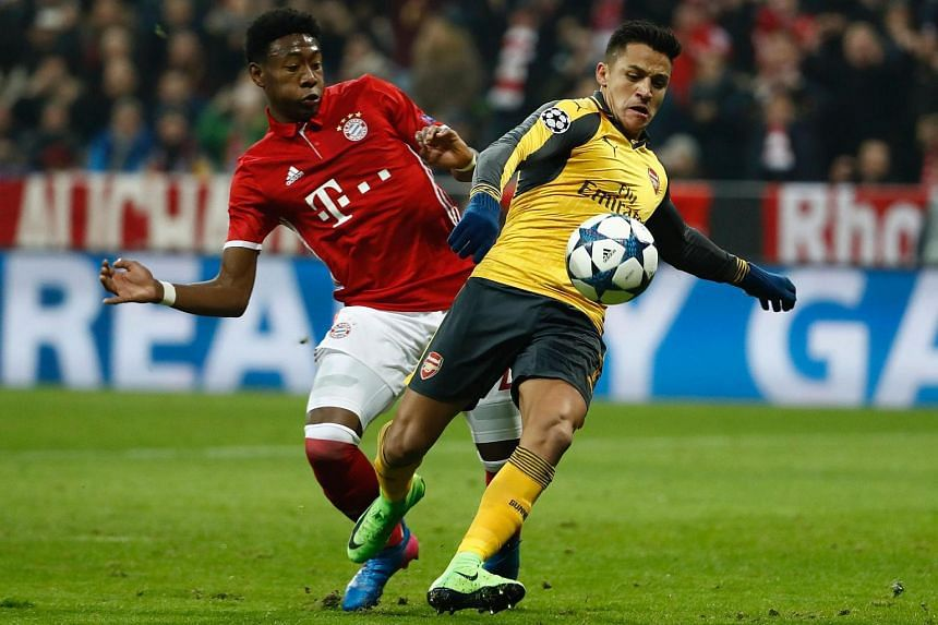 Arsenal's Chilean striker Alexis Sanchez controls the ball during the Uefa Champions League football match between FC Bayern Munich and Arsenal in Munich, southern Germany, on Feb 15, 2017.