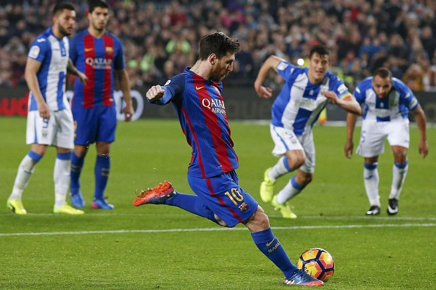 Barcelona's Lionel Messi scoring a penalty against Leganes on Feb 19, 2017.