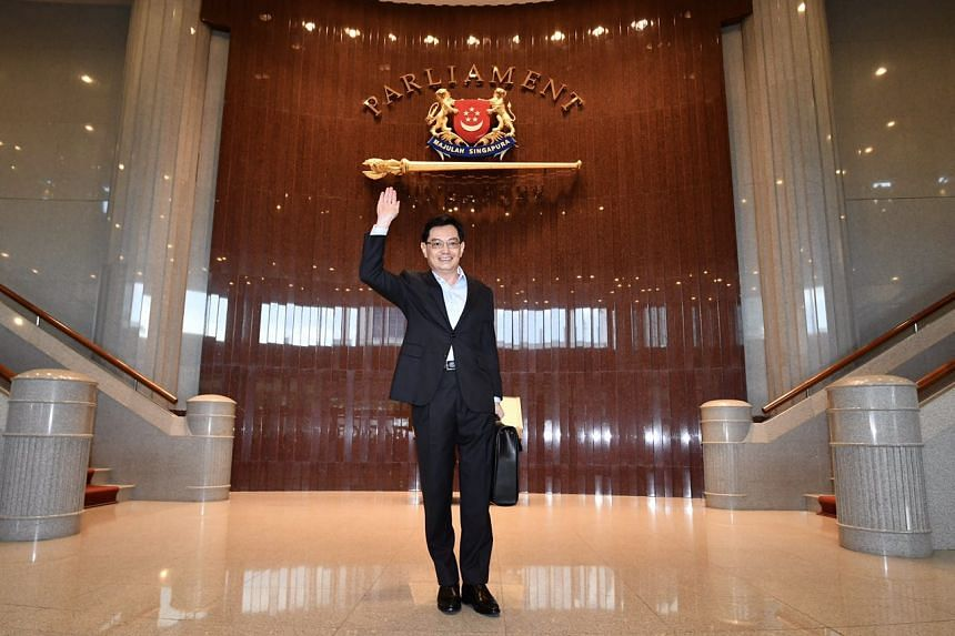 Minister for Finance, Mr Heng Swee Keat, arrives at the Parliament House for the delivery of the Budget speech on Feb 20, 2017.