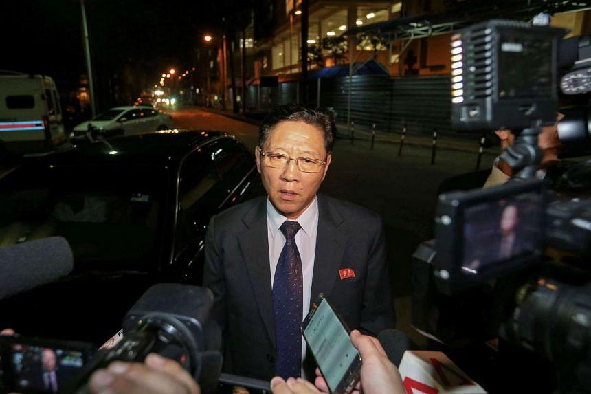 North Korea's ambassador to Malaysia Kang Chol addresses the media in Kuala Lumpur on Feb 18, 2017.