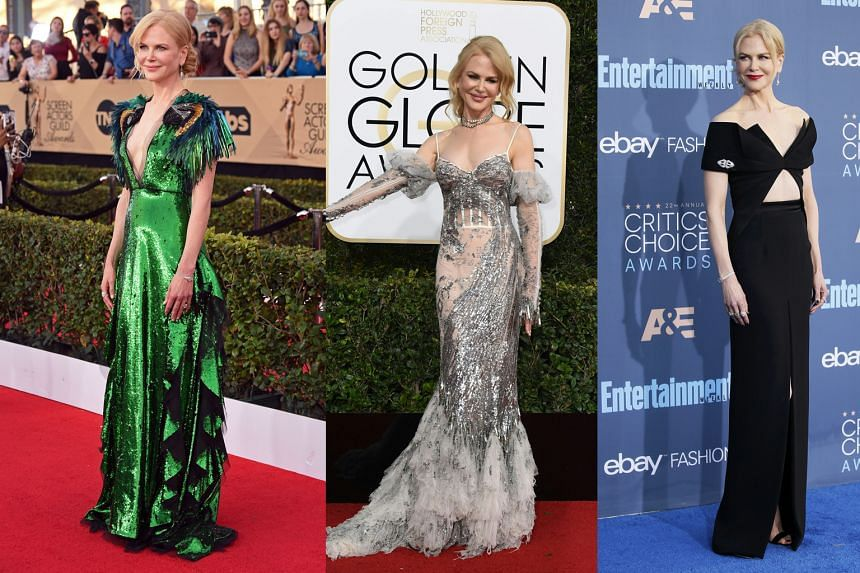 Actress Nicole Kidman at the Screen Actors Guild Awards (left) and Golden Globes (centre), both last month; and at the Critics' Choice Awards (right) in December.