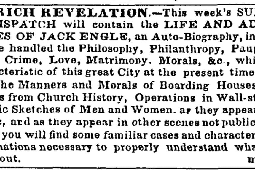 A small ad that ran in The New York Times on March 13, 1852, turns out to be an anonymously published Walt Whitman novel.