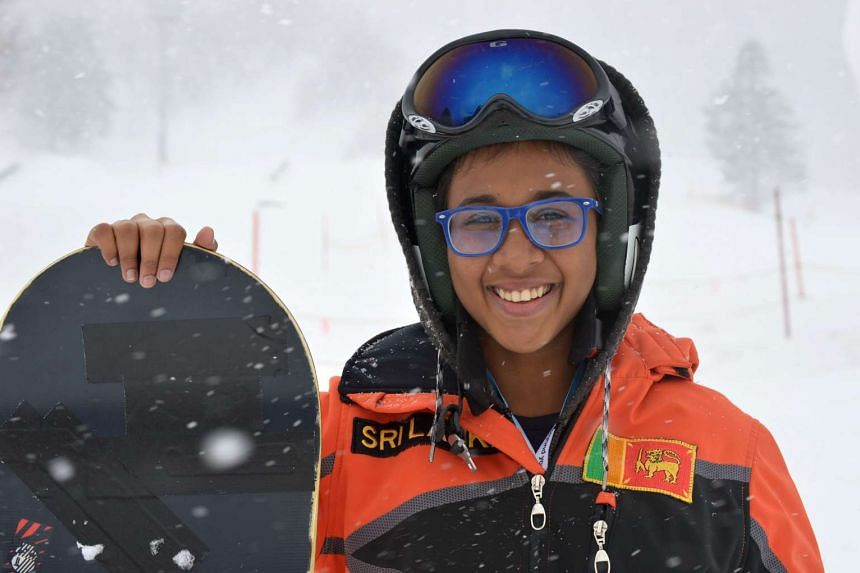 Sri Lankan snowboarder Azquiya Usuph posing at the Sapporo Teine resort in Japan on Feb 19, 2017.
