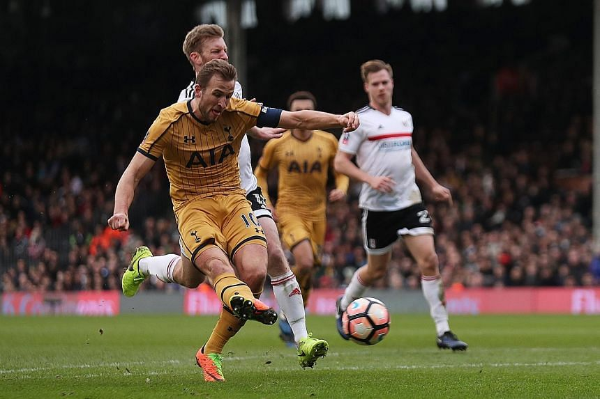 Tottenham's Harry Kane completing his hat-trick against Fulham just before being replaced by Moussa Sissoko in the 75th minute. After losses to Liverpool and Ghent, Spurs are eager to get their season back on track and will seek to turn their Europa