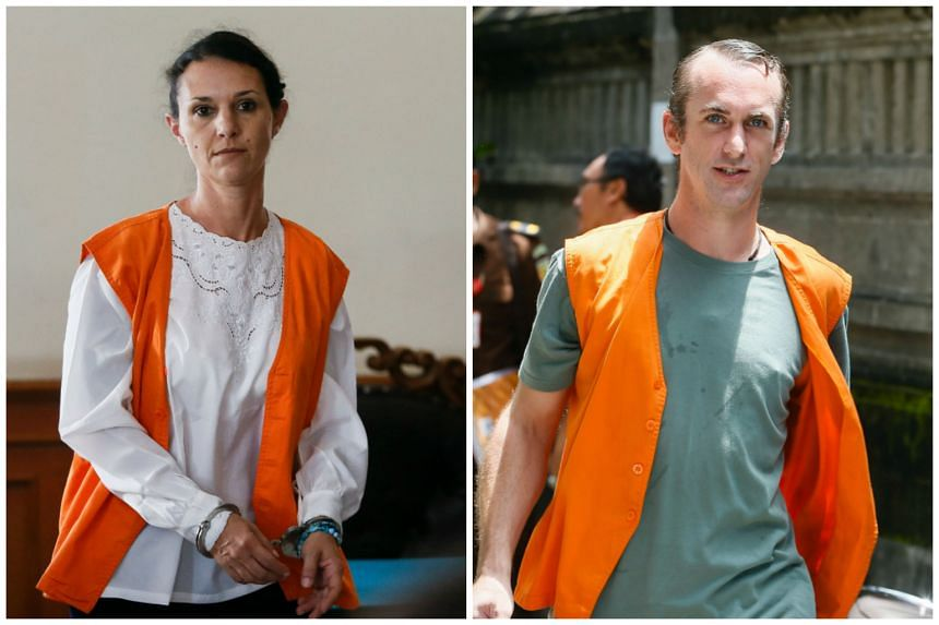 Australian Sara Connor (left) and Briton David Taylor at the Denpasar District Court in Bali on Feb 14, 2017.