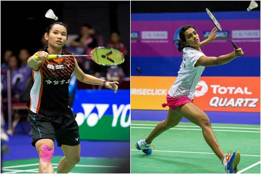 Taiwan's Tai Tzu-ying (left) and India's P.V. Sindhu.
