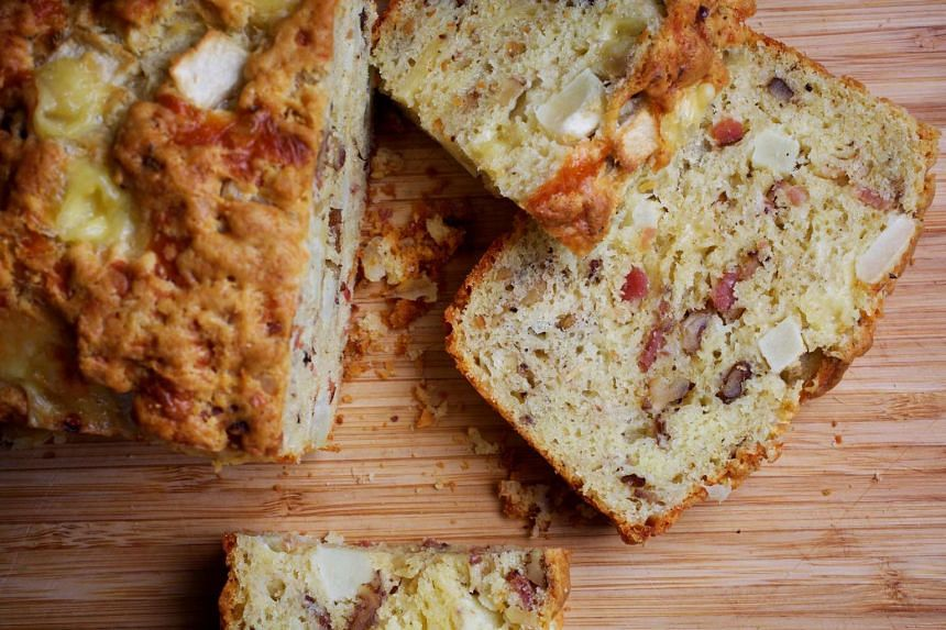 This quick bread is packed not just with cheese and bacon but also apple and cumin for an extra kick.