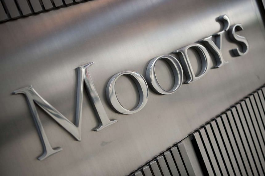 The Moody's Investors Service Inc. logo is displayed outside of the company's headquarters in New York, US.