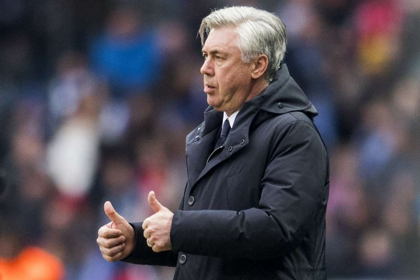 Bayern Munich´s head coach Carlo Ancelotti gestures during the German first division Bundesliga football match between Hertha BSC Berlin and FC Bayern Munich in Berlin, Germany on Feb 18, 2017.