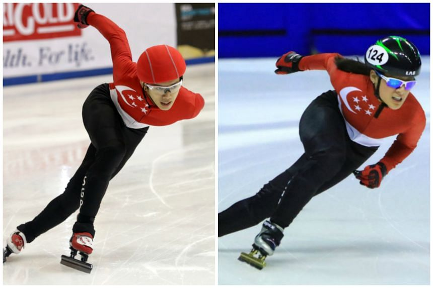 Singapore short-track speed skaters Lucas Ng (left) and Cheyenne Goh finished as the top performing South-east Asians in the 500m event at the Asian Winter Games in Sapporo.