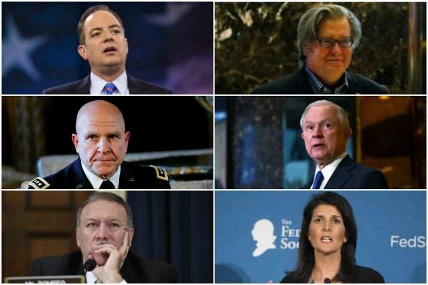 (From top left) Reince Priebus, Stephen Bannon, Lieutenant-General H.R. McMaster, Jeff Sessions, Mike Pompeo and Nikki Haley have all been selected by US President-elect Donald Trump as key members of his team.