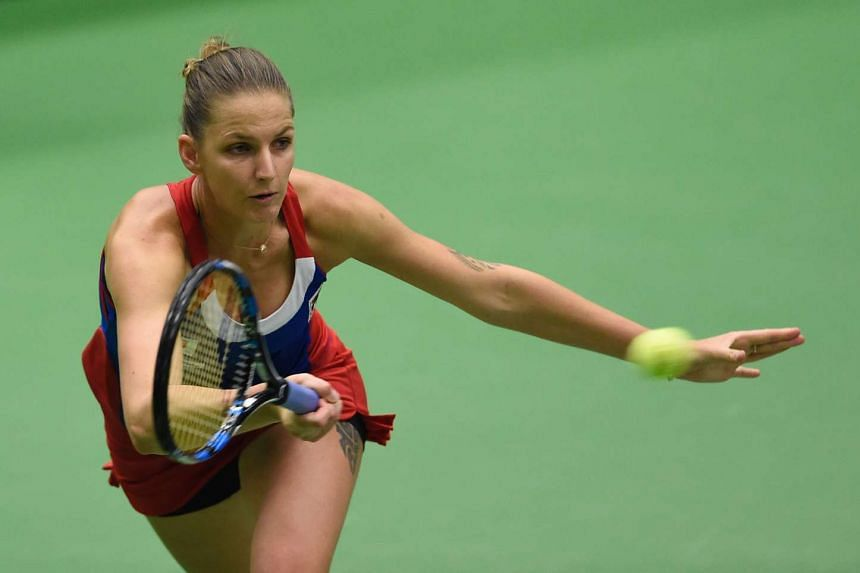 Pliskova (above, in a file photo) lost in straight sets to France's Kristina Mladenovic 6-2, 6-4.