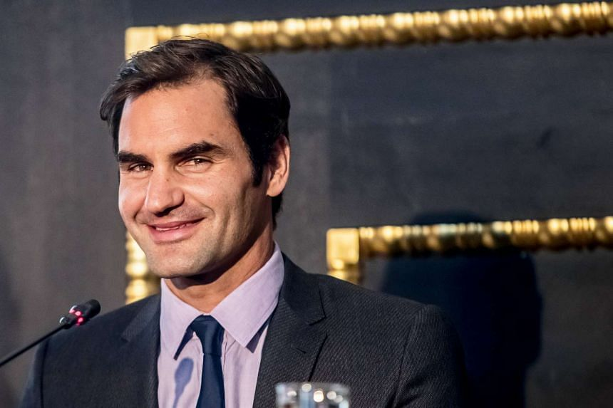 Roger Federer smiles during a press conference in Prague, Czech Republic, Feb 20, 2017.