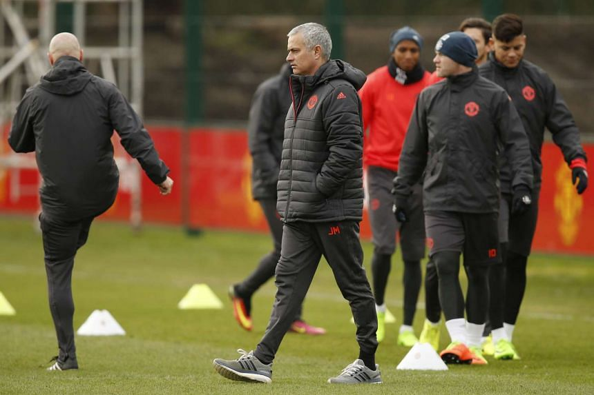 Manchester United manager Jose Mourinho during a training session on Feb 21, 2017.