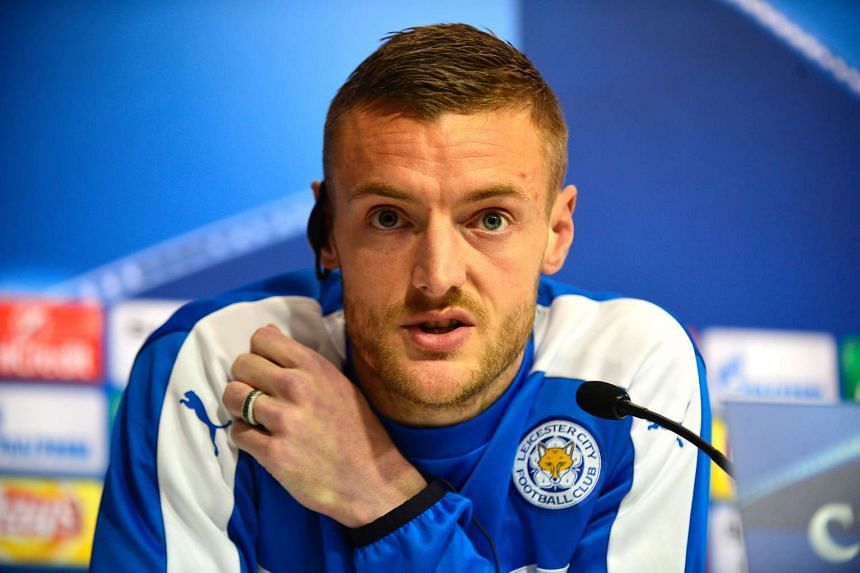 Vardy speaks during a press conference on the eve of Leicester City's Uefa Champions League match against Sevilla.