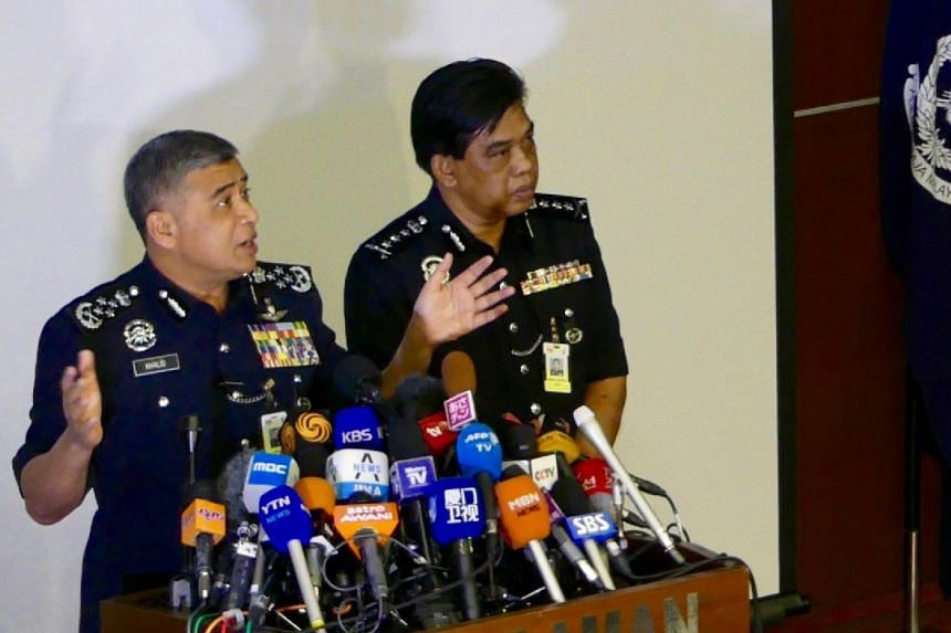 Malaysia's Royal Police Chief Khalid Abu Bakar (left) speaking during a news conference regarding the apparent assassination of Kim Jong Nam at the Malaysian police headquarters in Kuala Lumpur, Malaysia, on Feb 22, 2017.