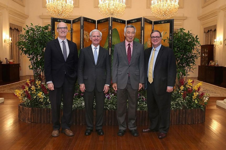 The caucus delegation that met Prime Minister Lee Hsien Loong comprised (from far right) Representatives Denny Heck, Bradley Byrne and Rick Larsen.