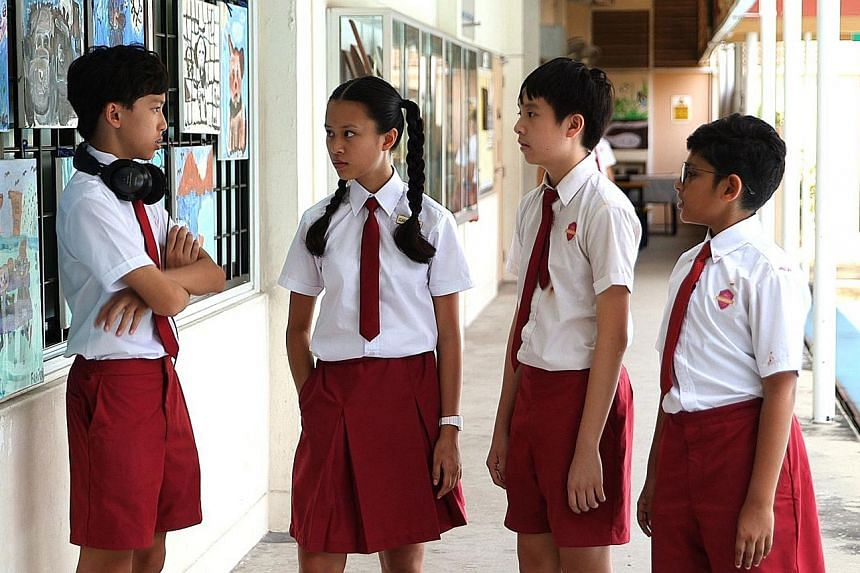 Exlosers' (from far left) Ian Teng, Tan Tze Kia, Ivan Lo and Aadeetiya Jayashanker play socially awkward kids with superpowers in an okto adaptation of the Extraordinary Losers series by Jessica Alejandro.