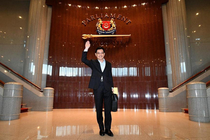 The Budget speech kicked off with MPs thumping their seats in a show of support for Mr Heng (above), who spoke for the first time in Parliament since suffering a stroke last May and making a remarkable recovery.