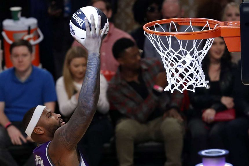 DeMarcus Cousins goes to the basket during the NBA All-Star Skills Challenge at Smoothie King Centre – his new home.