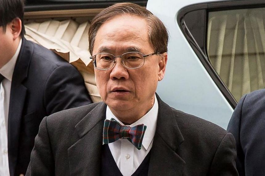 Former Hong Kong chief executive Donald Tsang (centre) arriving at the High Court for sentencing after being found guilty of misconduct in Hong Kong, on Feb 20, 2017.