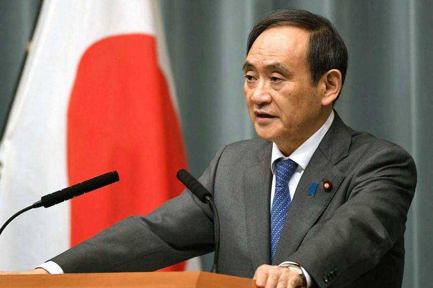 Japan's Chief Cabinet Secretary Yoshihide Suga speaks to the media during a news conference at the prime minister's office in Tokyo, Japan, on Feb 12, 2017.