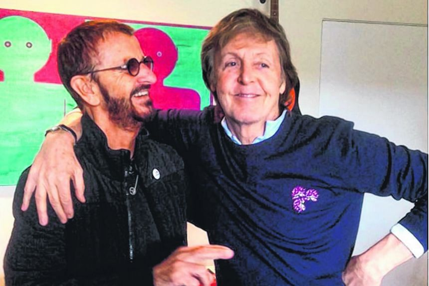 The two surviving Beatles, Ringo Starr (left) and Paul McCartney, came together in the studio over the weekend, the first time in seven years.