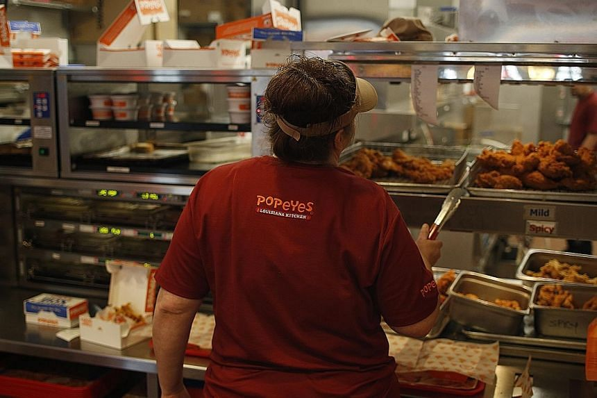 Popeyes' same-store sales gained 1.8 per cent as US eateries endured a slump in the third quarter.