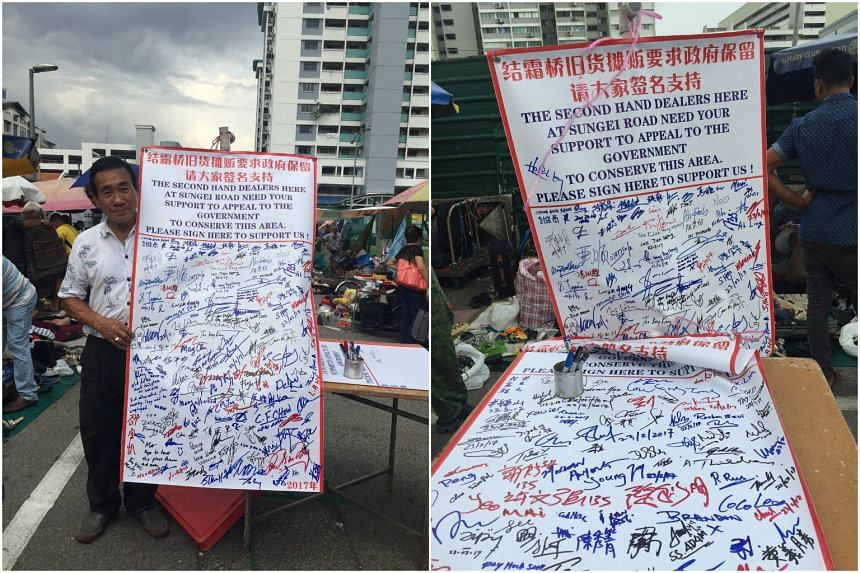 Mr Koh Ah Koon the president of the Association for the Recycling of Second Hand Goods, printed a banner calling for the conservation of Sungei Road.