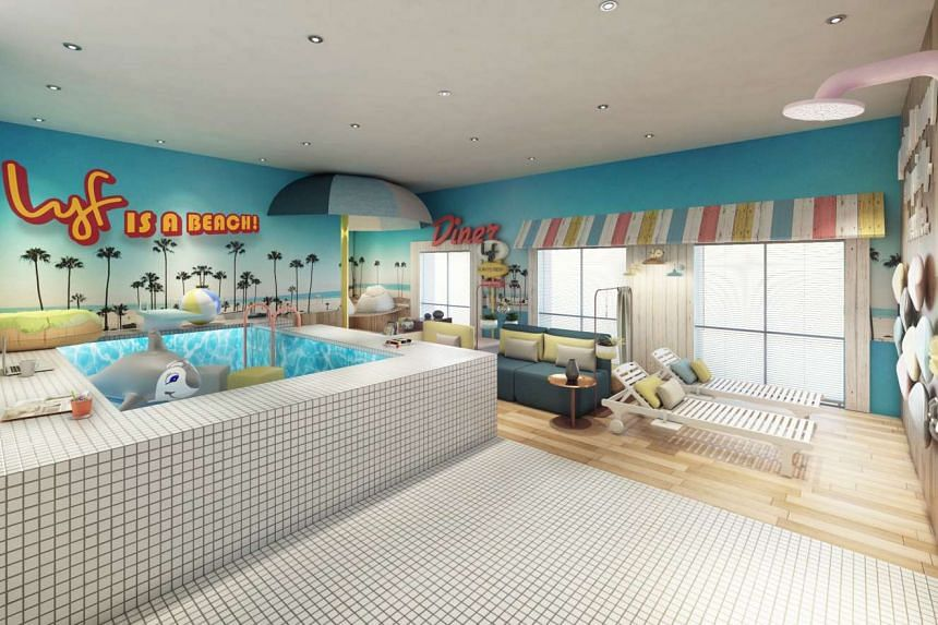 A beach-inspired discussion room.