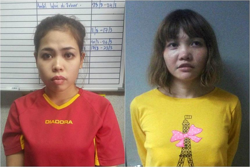 Siti Aisyah (left) is said to have attacked first, followed by Doan Thi Huong who allegedly smeared a liquid on Kim Jong Nam's face.