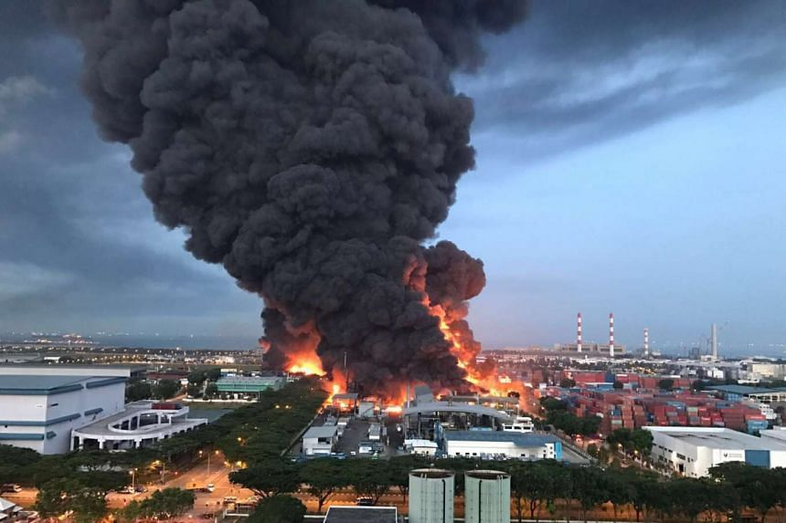 Plumes of smoke could be seen emerging from the waste management plant in Tuas during the blaze.