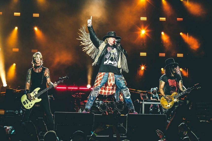 Guns N' Roses will play their first show in Singapore at the Changi Exhibition Centre on Saturday (Feb 25).