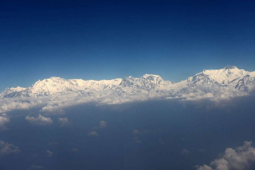 An aerial view of the Himalayan Mountain range of Annapurna and Mount Machapuchare, west of Kathmandu.