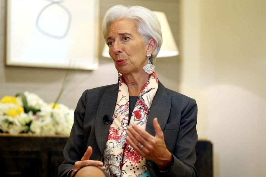 IMF Managing Director Christine Lagarde gesturing during an interview with Reuters in Dubai, United Arab Emirates, on Feb 13, 2017.