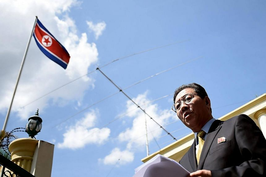 North Korea's ambassador to Malaysia, Mr Kang Chol, addressing journalists outside the North Korean Embassy in Kuala Lumpur on Feb 20, 2017.