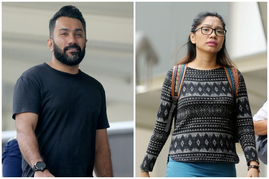 Mohammed Nazir Mohamed Rasid (left) was fined $5,000 for helping Cassandra Tan Xin Yi lie that she was molested, so that she could skip work.