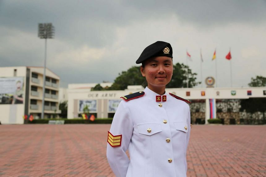 Specialist Cadet (SCT)  Lim Zi Zhuo Emerald at the 30/16 Specialist Cadet Graduation Parade. She hopes to be a role model for females serving or wanting to contribute to the defence of Singapore.