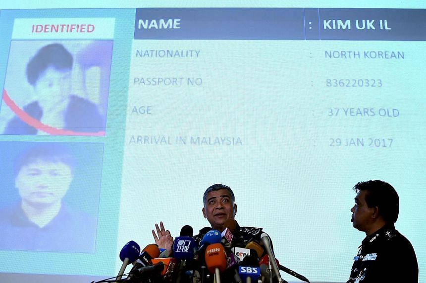 Royal Malaysian Police chief Khalid Abu Bakar (left) talking about North Korean Airlines employee Kim Uk Il, who has been identified for questioning, during a press conference at the Bukit Aman police headquarters in Kuala Lumpur on Feb 22, 2017.
