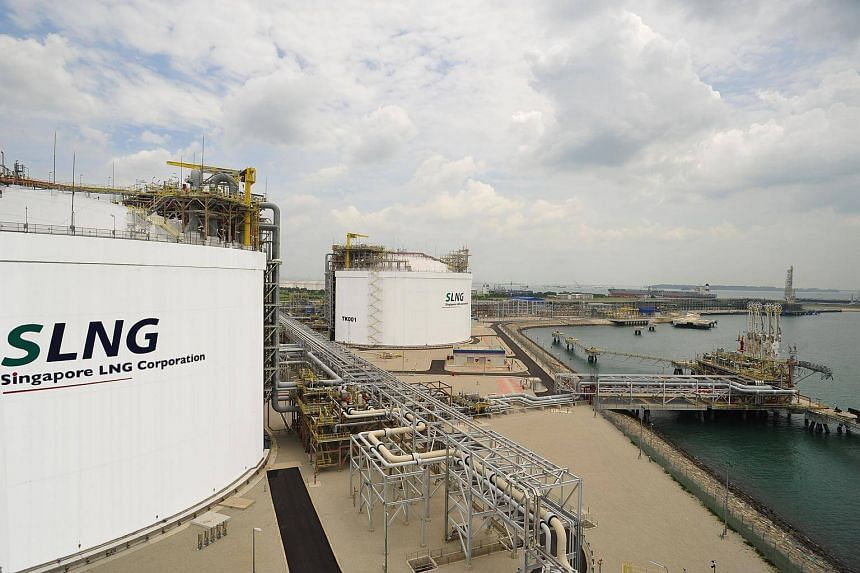 LNG storage tanks at the Singapore LNG (SLNG) terminal on Jurong Island.