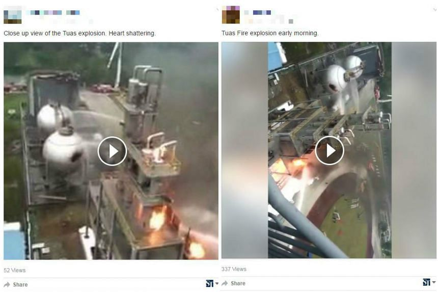 A video making the rounds on social media, purporting to be the Tuas fire on Thursday (Feb 23) morning, has actually been circulating since 2015.