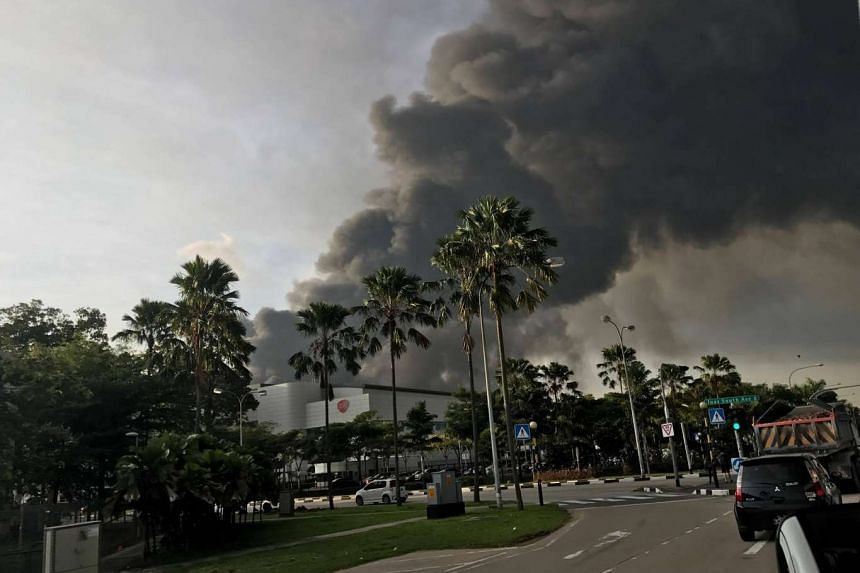 The smoke from the fire at Tuas View Circuit could be seen from far away.
