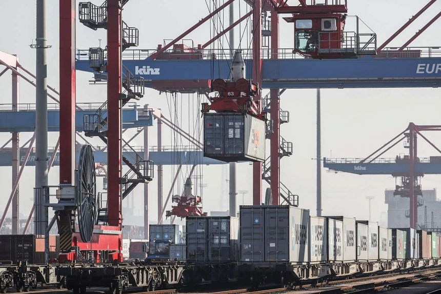 A container terminal in the port of Hamburg, Germany, Feb 15, 2017.