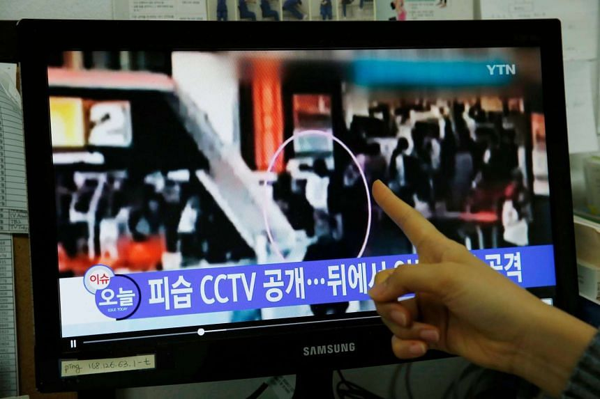 A South Korean watching a TV news report allegedly showing the assassination of Kim Jong Nam at the airport of Kuala Lumpur, Malaysia, at an office in Seoul, South Korea, on Feb 20, 2017.