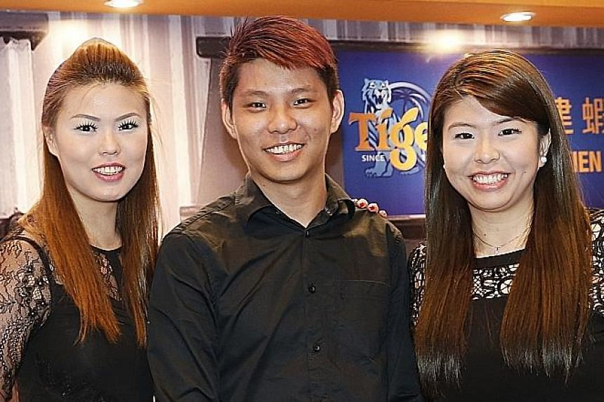 Mr Glen Liang, who runs a Nonya laksa stall with his sisters Sabrina (left) and Audrey, is one of the grant recipients.