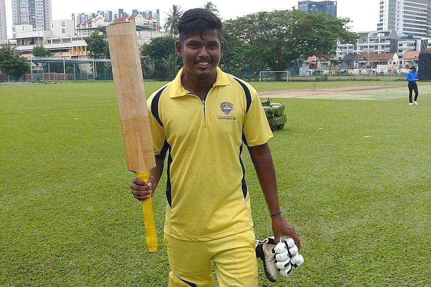 Omaidurai Thilipan is all smiles after his dazzling innings. He made a huge impression after failing with the bat in the league last year.